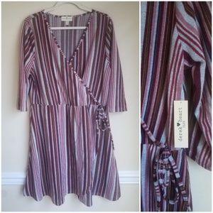 Burgundy Striped Plus Size Wrap Dress